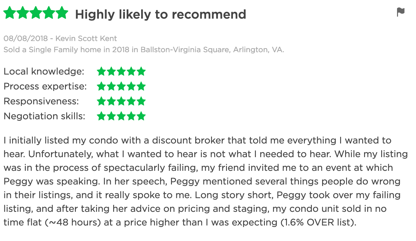 Seller Testimonial 1 for Peggy Yee