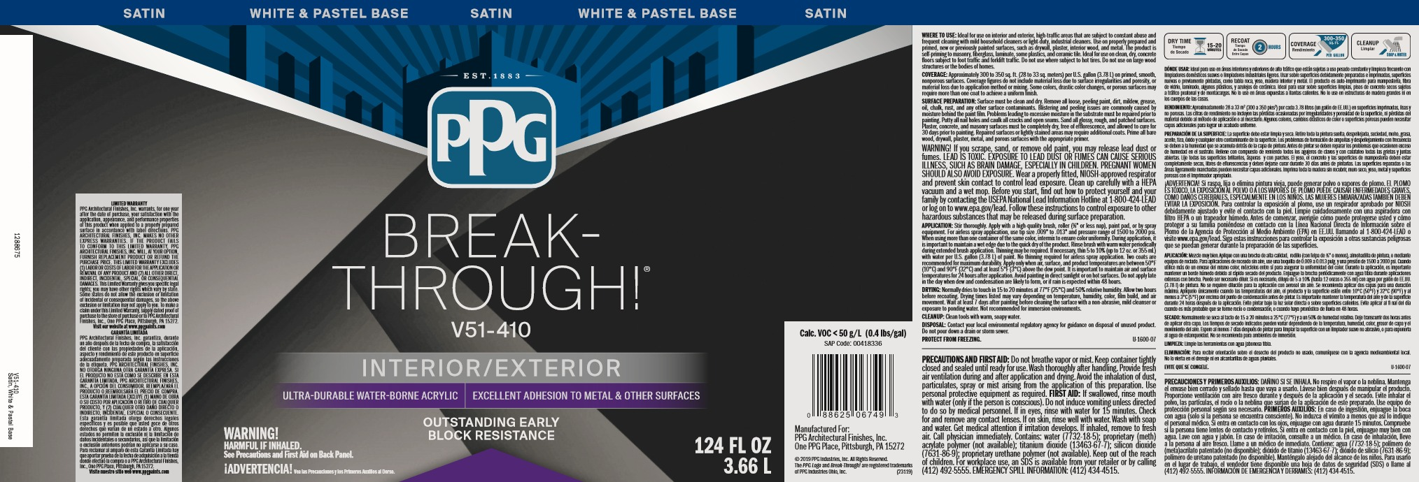 Breakthrough by PPG Paint label