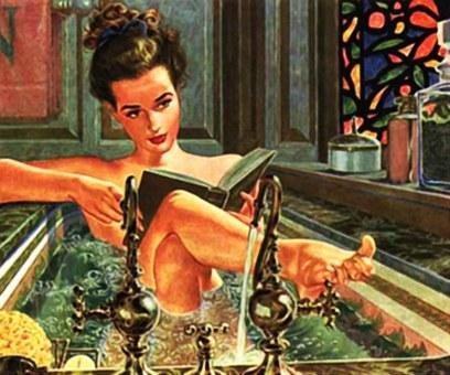 Bubble Bath Day January 8 lady book bath Pixabay image
