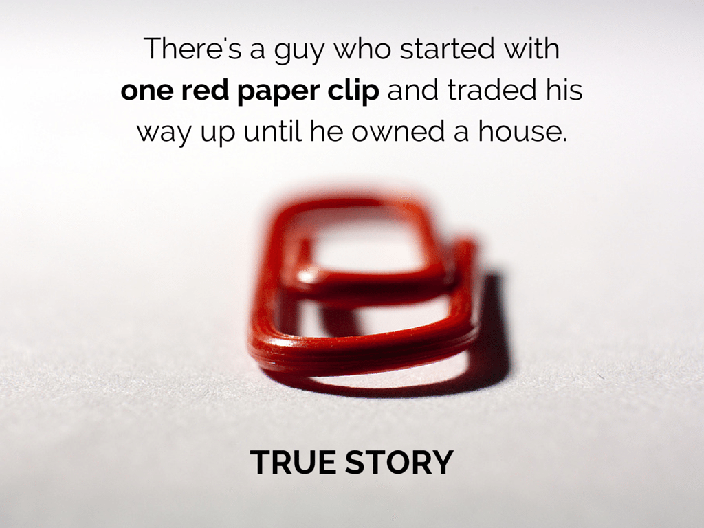 one red paperclip image