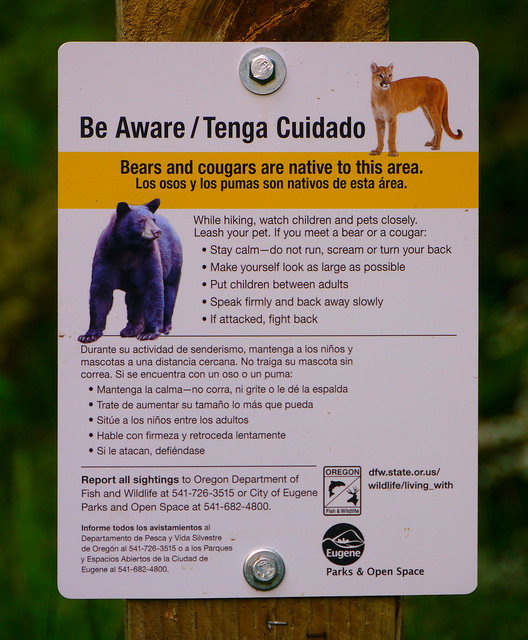 Bear and Cougar Habitat Warning Sign