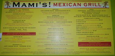 Mami's Mexican Grill Menu Board