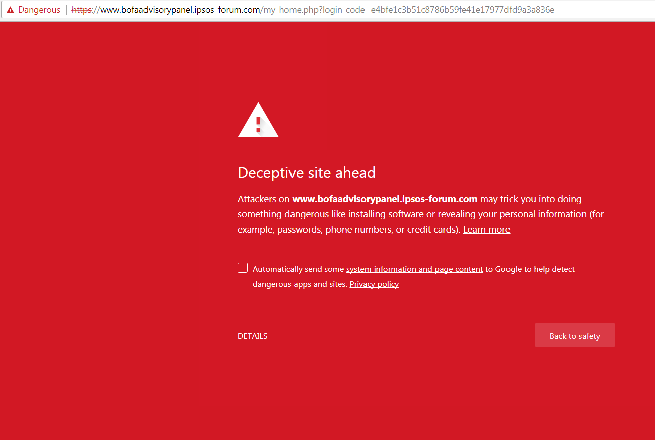 bank of america website not secure