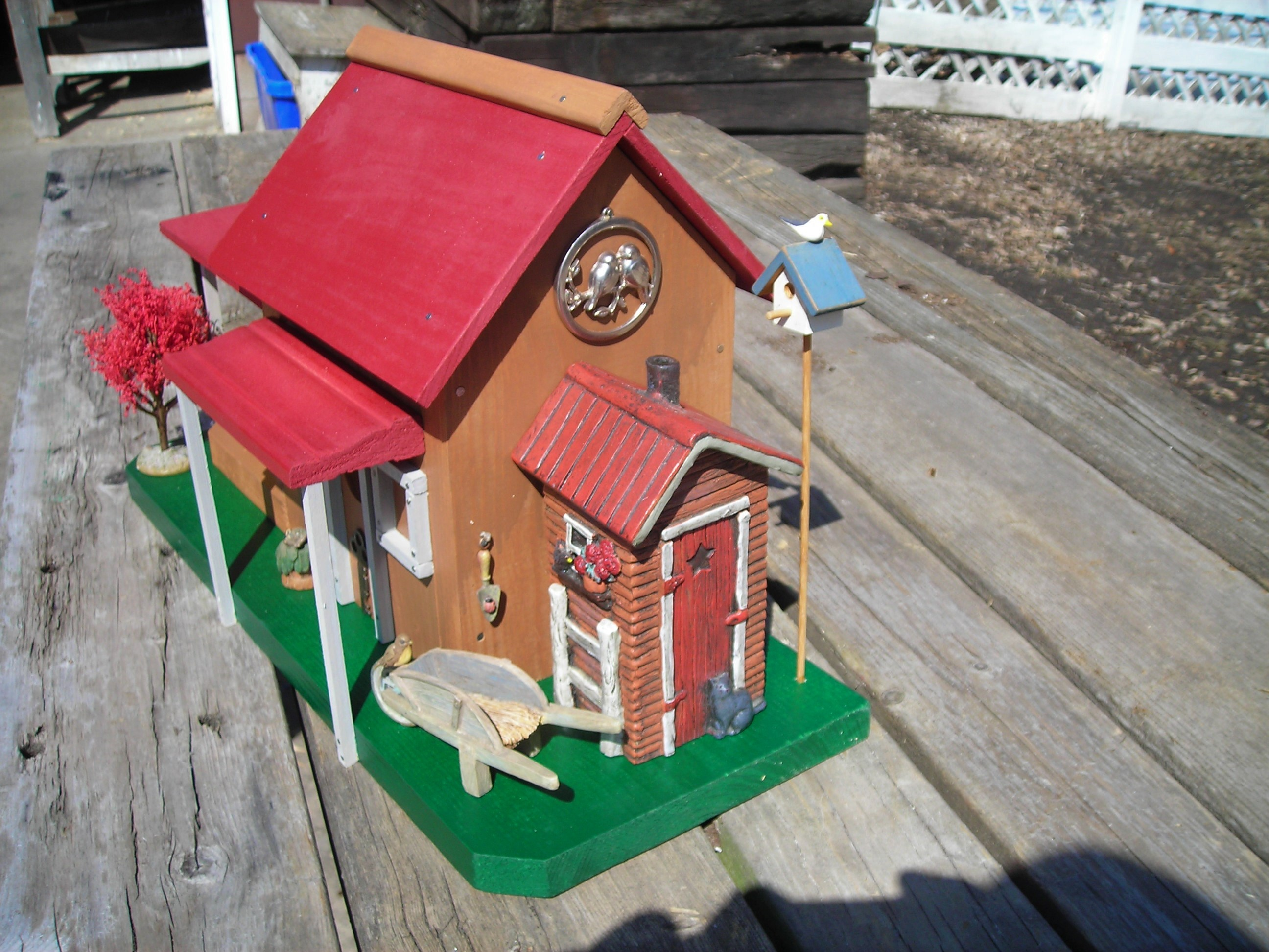 Rons Rustic Birdhouses Red Roof Cottage right