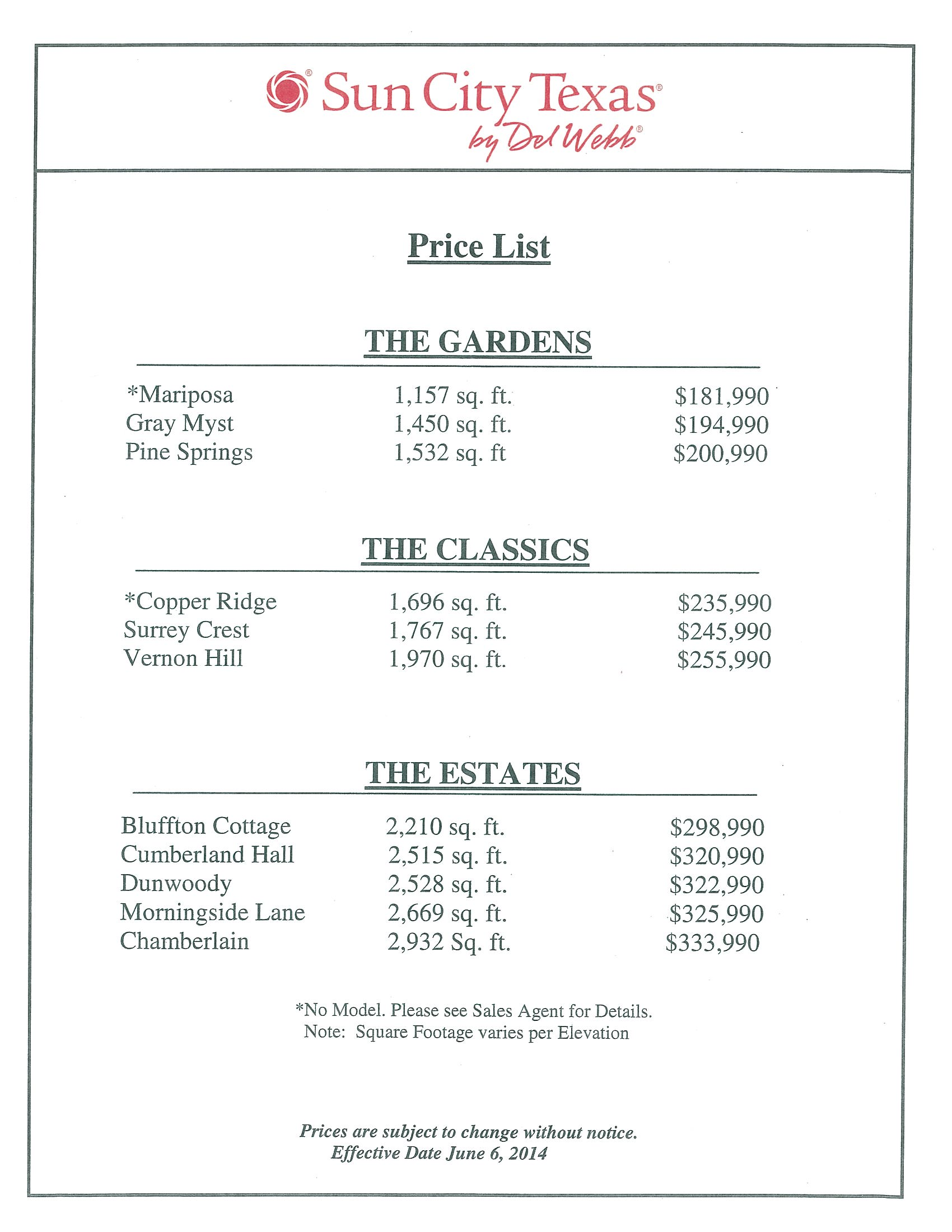 Sun city texas new home price list 6 6 14 c o rugg realty llc for New home price list