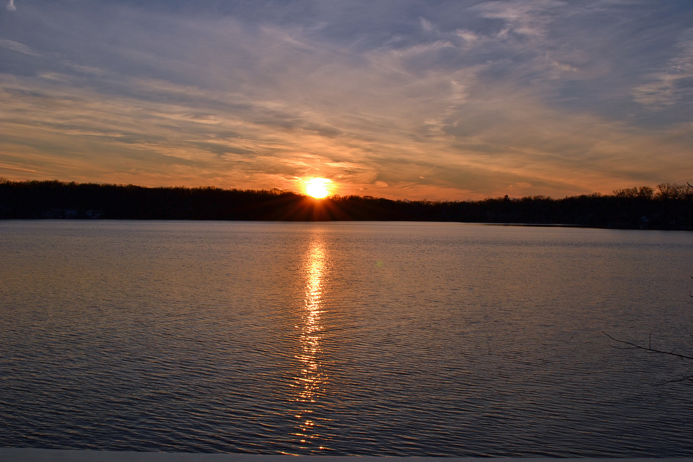Sunset over Flint Lake in Valparaiso Indiana 46383 taken from the Woodmere neighborhood sun deck