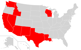Map of community property states