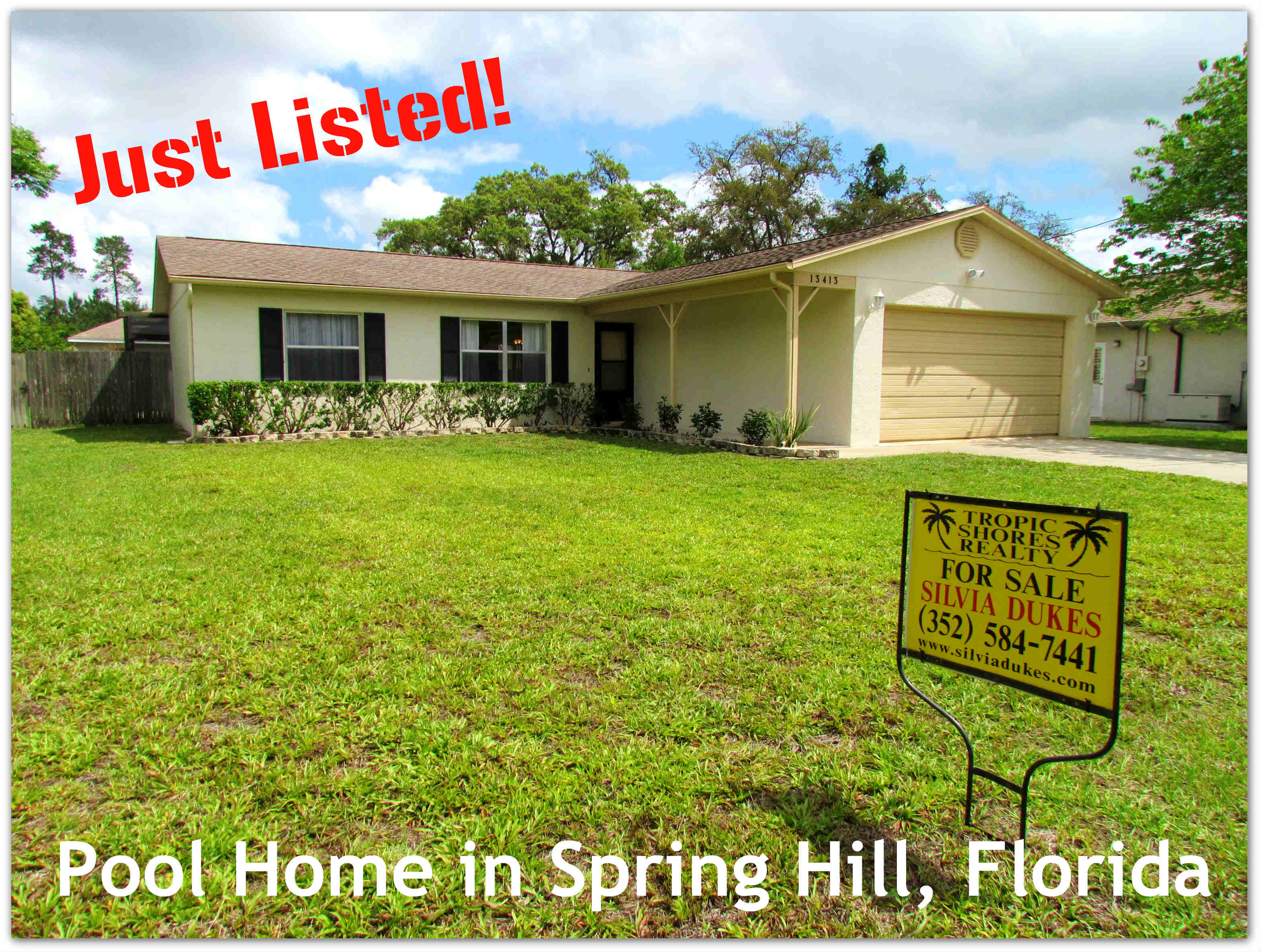spring hill florida home for sale with pool and fenced yard