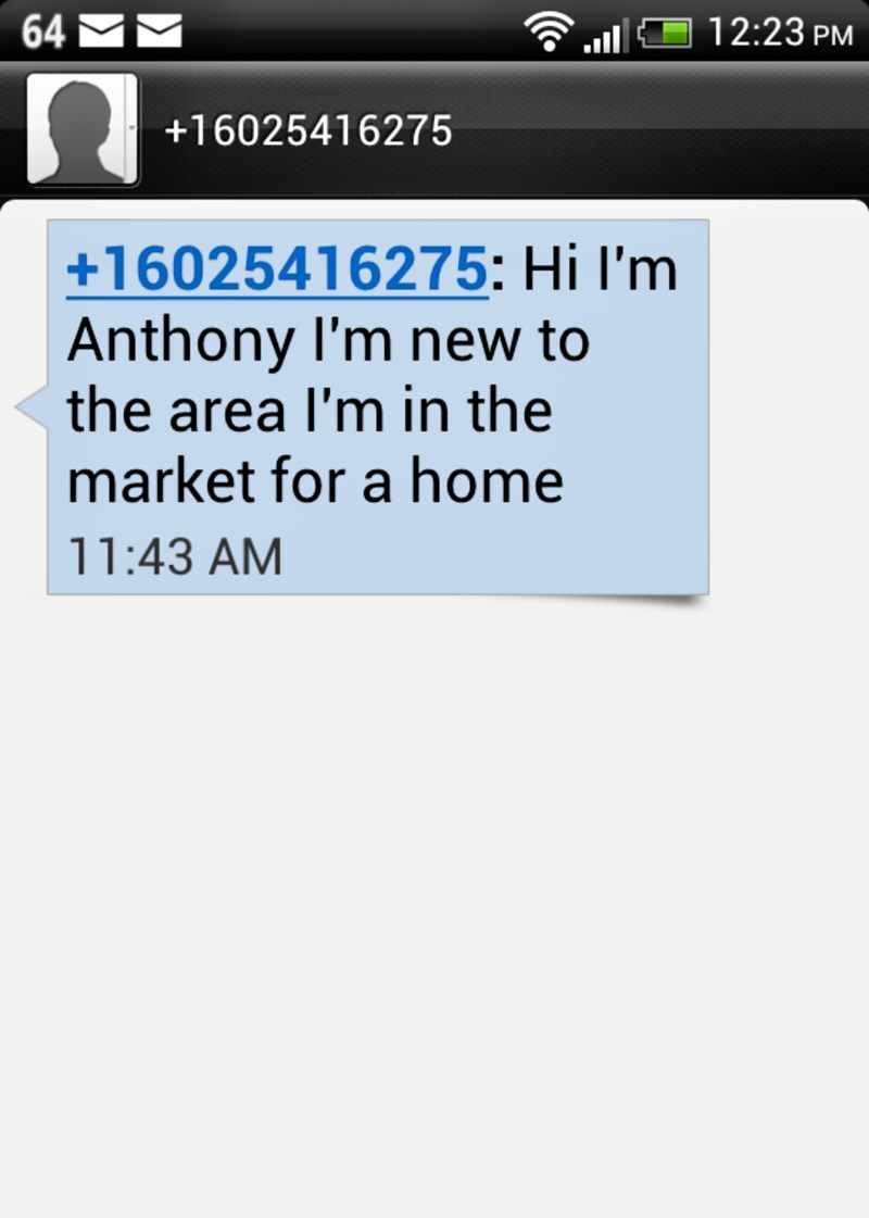 Real Estate Agents phoney calls and texts from 602-541-6275