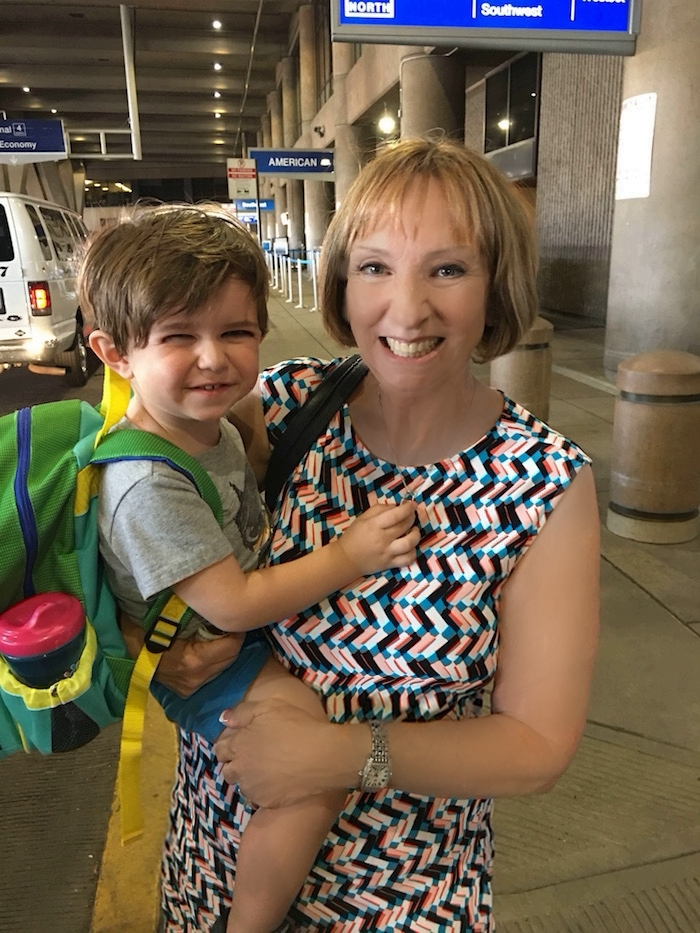Sheri and Tristan at the airport