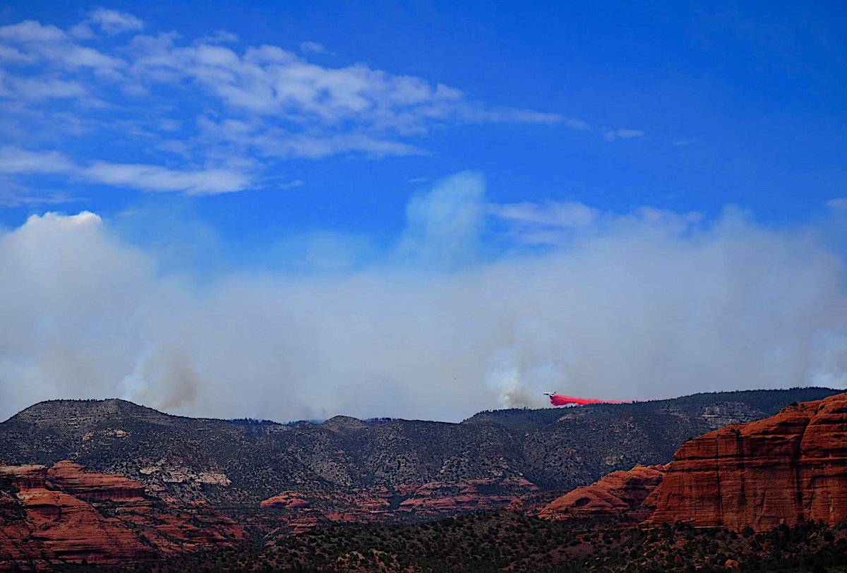 Air tanker dropping retardant on Rafael Fire - image courtesy of Sedona Fire Facebook page.
