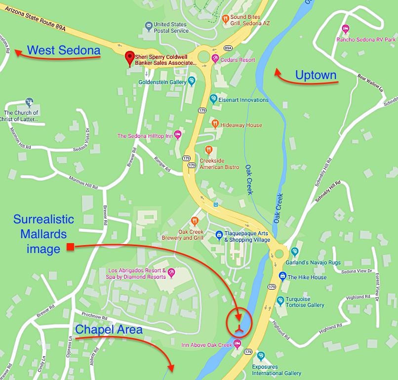 Map of Surrealistic Image of Mallards on Oak Creek