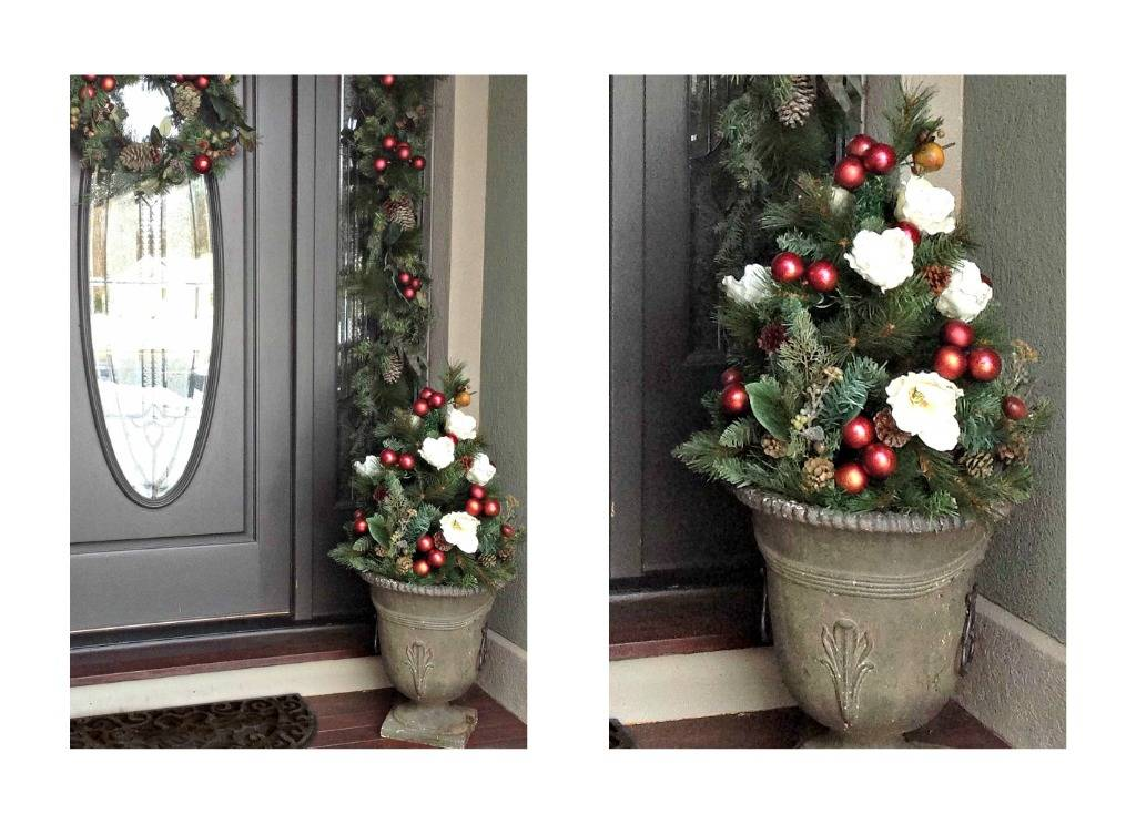i used the tree top to create a small tree in the urn by my front door all i did was stick it in the urn and add some ornaments pinecones - How To Decorate Urns For Christmas