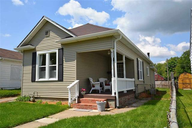 Lafayette, Indiana 3 bedroom single story home for sale under $100,000 with detached garage, fenced yard, covered front porch, and rear deck listed for sale by Keller Williams Realty Lafayette Indiana Sharon Walter real estate broker agent.
