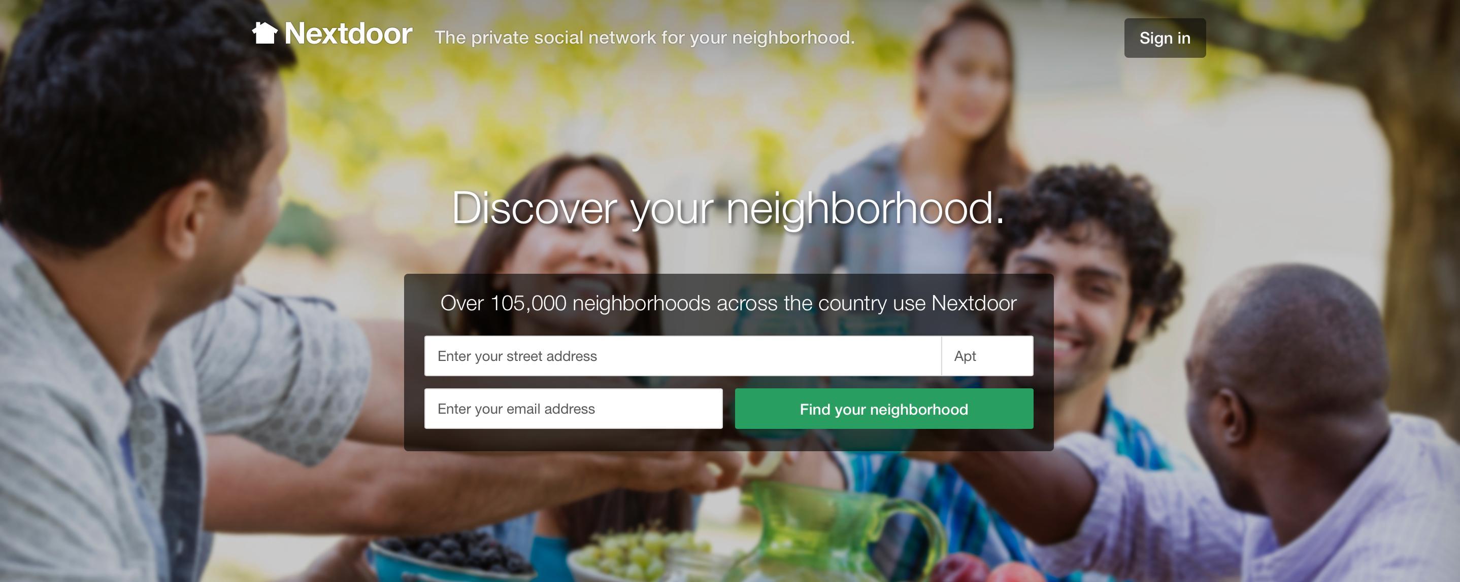 Nextdoor neighborhood website