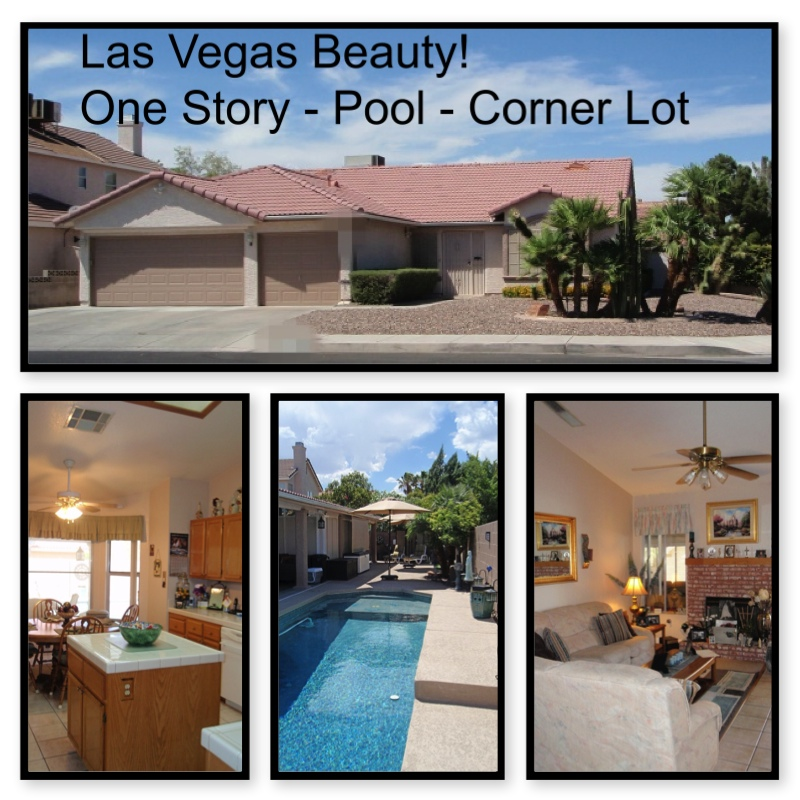 One story las vegas home for sale with a pool for Home for sale in las vegas with pool