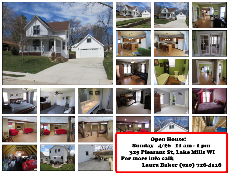 Open House! 325 Pleasant St, Lake Mills WI  53551 April 26 11 - 1