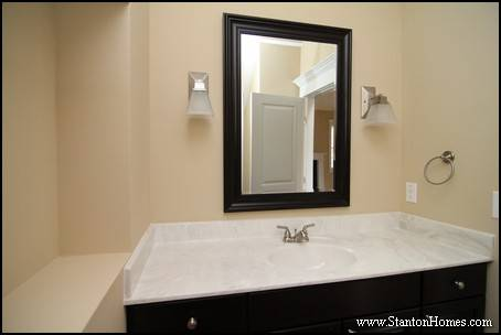 Powder Rooms with Framed Mirror