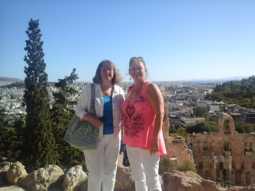 Cathy and me partway up to the Acropolis