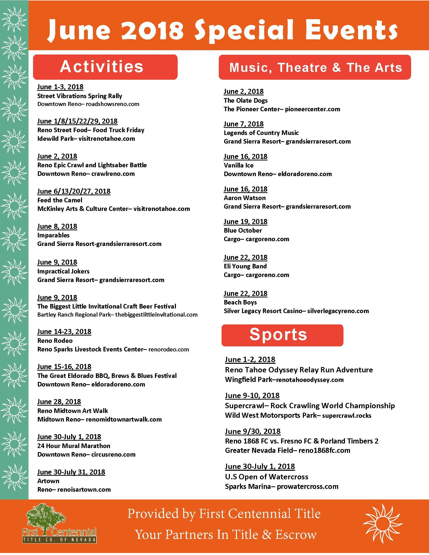 Reno Calendar June : June special events in reno nv