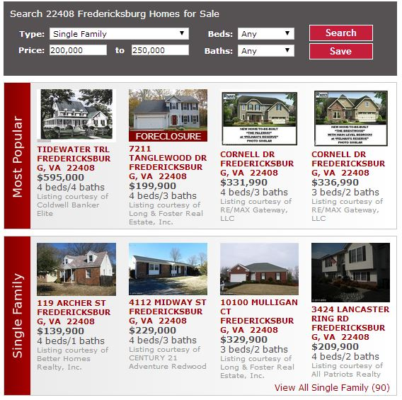 First Time Home Buyer Fredericksburg Real Estate Listings