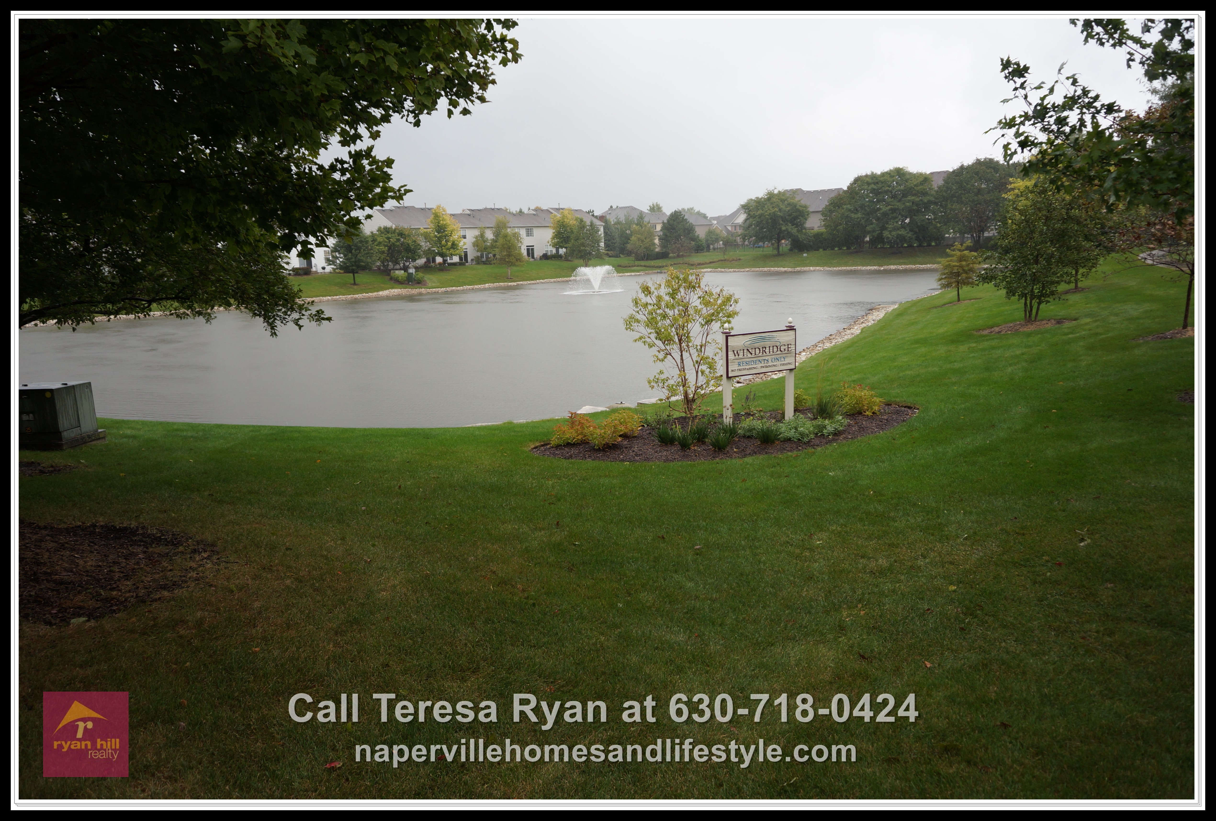 Homes for sale Naperville IL - Stunning view of the lawn and pond awaits you as you gaze thru the clear sliding doors of the living room in Naperville IL townhome for sale.