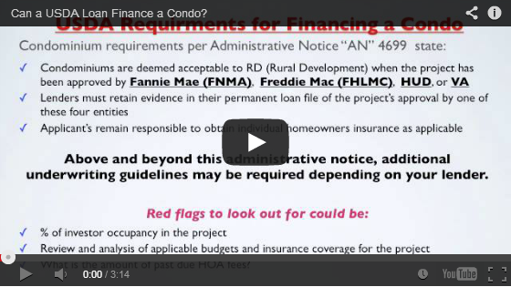 Can a usda loan finance a condo for Usda approved builders