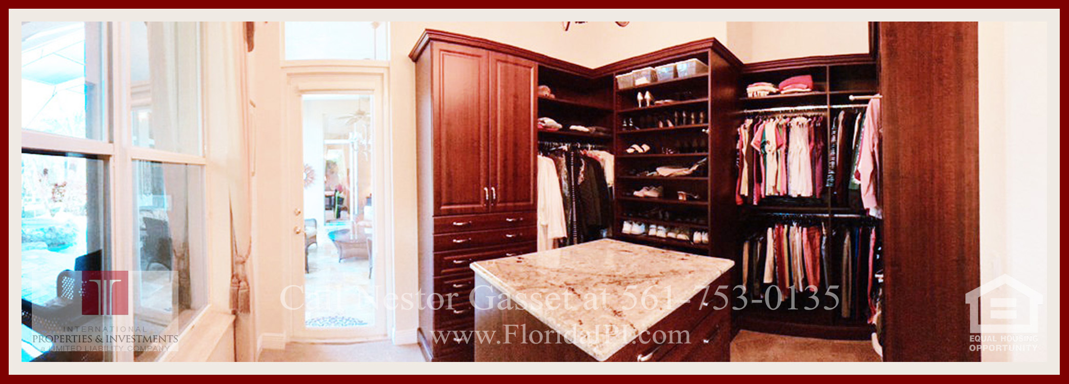 West Palm Beach Fl golf course community estate home for sale  - The custom California walk-in closet of this home for sale in The Preserve at Ironhorse has been added by the seller, so it's a unique feature to this home.