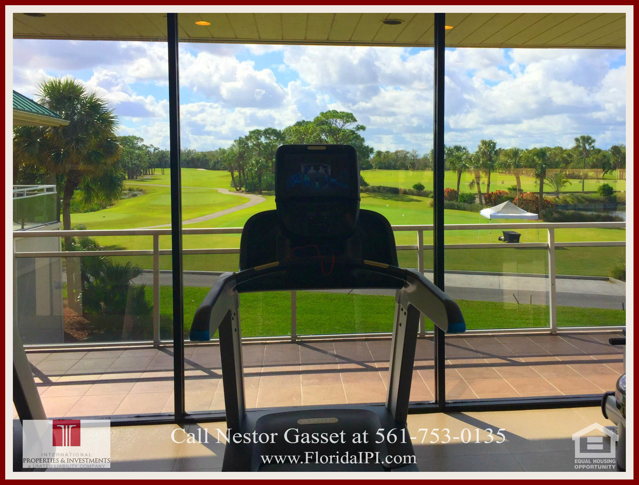 West Palm Beach Fl golf course community estate home for sale  - Enjoy a stunning water view or a beautiful view of the golf course while working out at the The Preserve at Ironhorse fitness center.