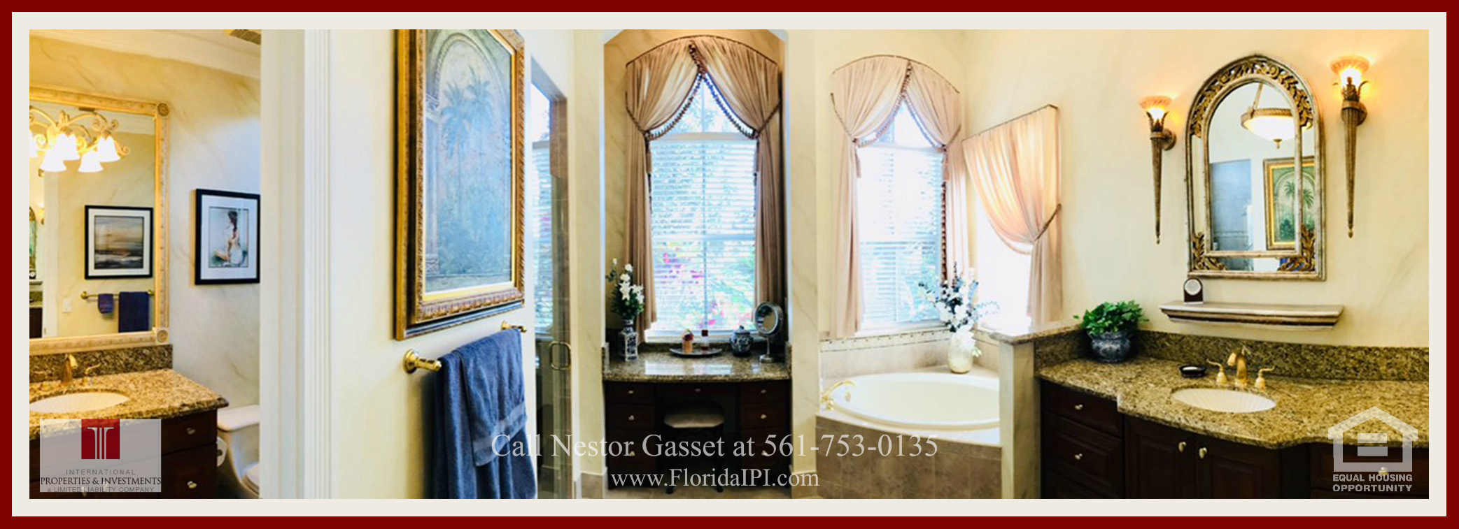 West Palm Beach Fl golf course community estate home for sale  - The bathroom of this home for sale in The Preserve at Ironhorse has his and hers baths, a roman tub, designer drapes, custom archways, custom crown molding and granite countertops.