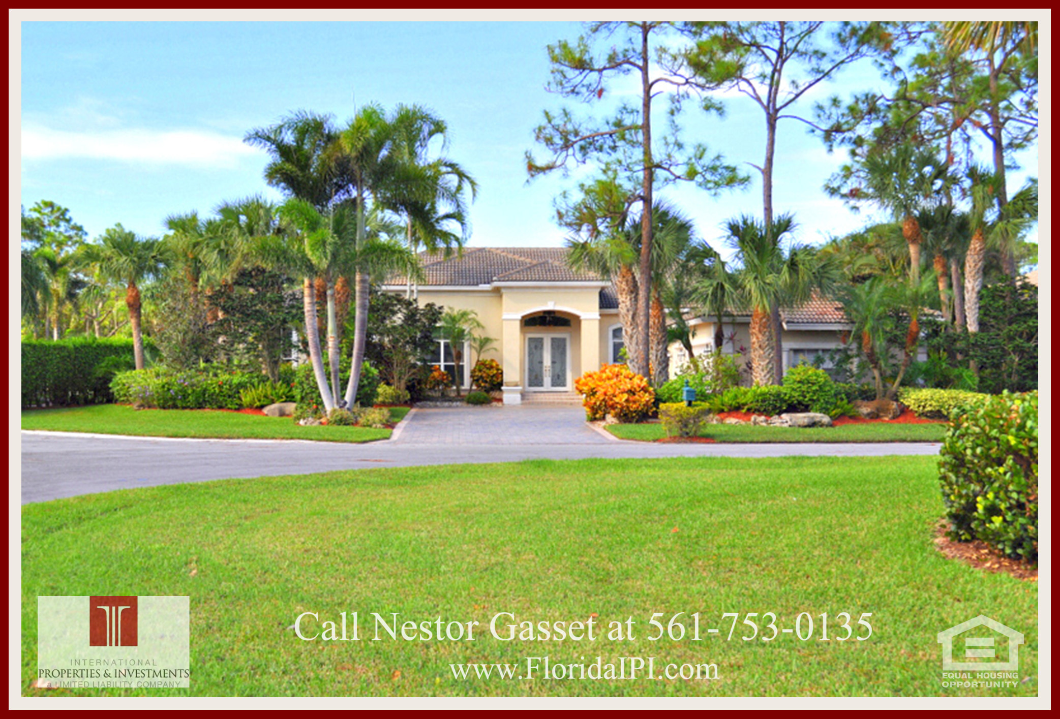 West Palm Beach Fl Golf Course Community Estate Home for Sale  - This beautifully landscaped West Palm Beach FL home for sale has over 3,500 square feet of living space