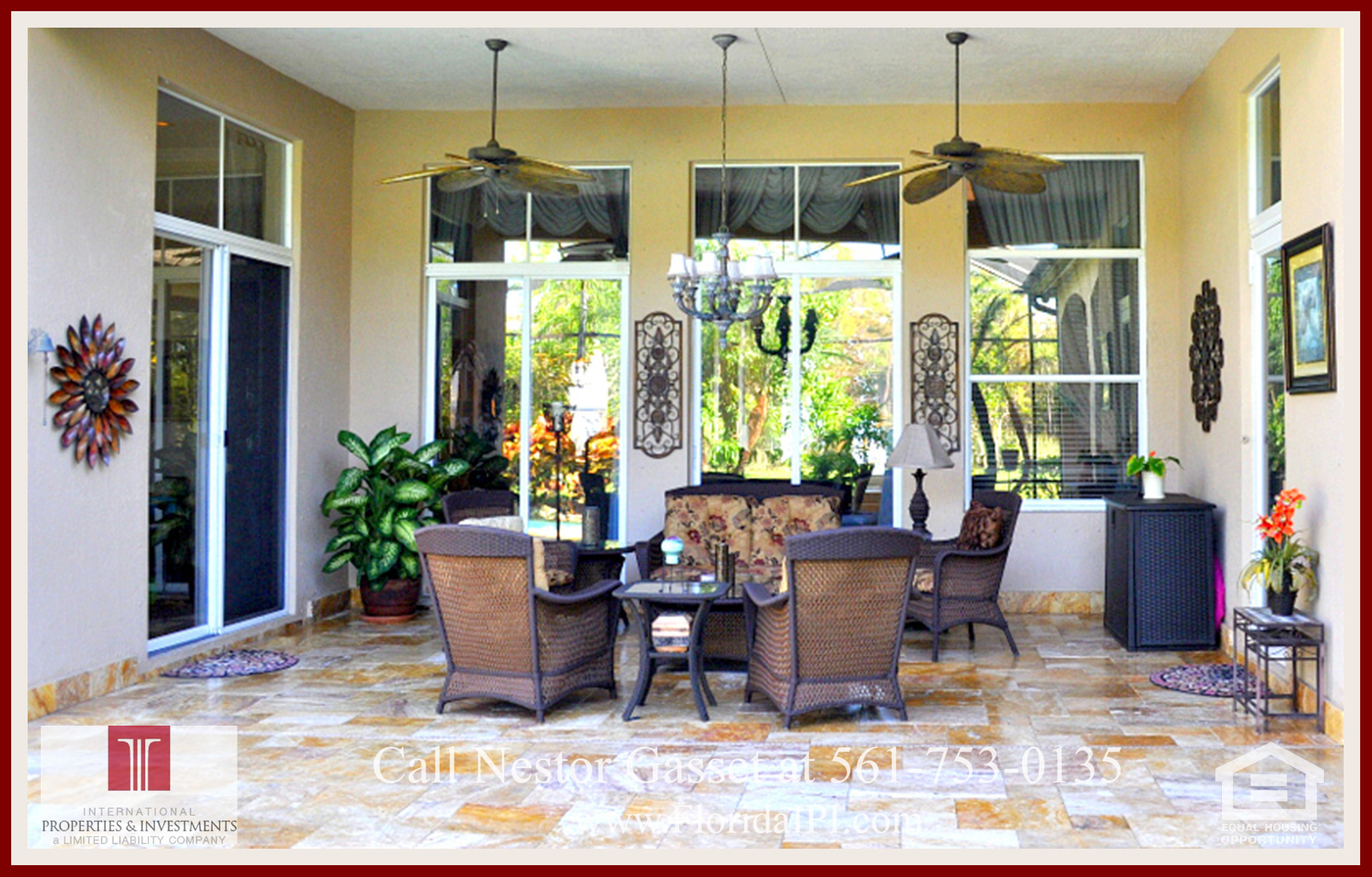 West Palm Beach Fl golf course community estate home for sale -This golf course community estate home for sale in West Palm Beach features a spacious patio that extends your entertainment space outdoors.