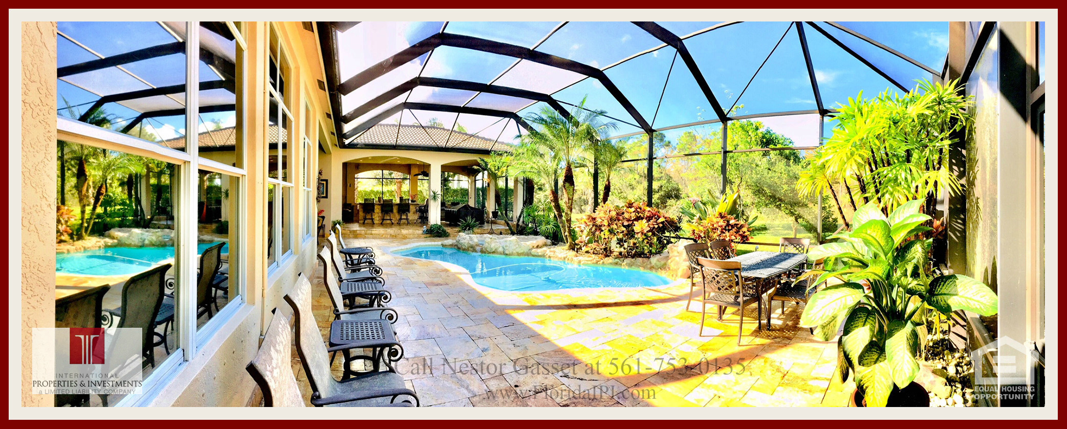 West Palm Beach Fl golf course community estate home for sale - This home for sale in The Preserve at Ironhorse features a screened swimming pool, spa, and a gazebo perfect for entertaining.