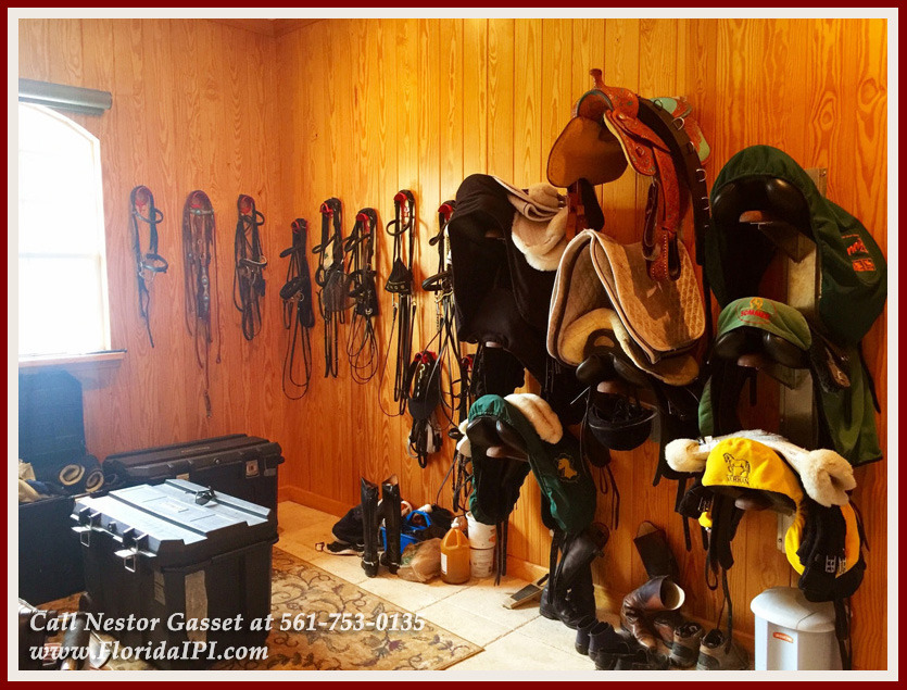 Equestrian Home For Sale in Fox Trail Loxahatchee FL - 1154 Clydesdale Dr Loxahatchee FL 33470 - Air Conditioned Tack Room With 3 Racks