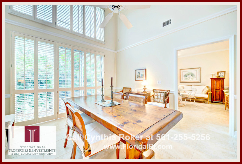 Charter Club at Martin Downs Home For Sale Palm City FL  -Beautiful wood plantation shutters make the dining room of this home for sale extraordinary.
