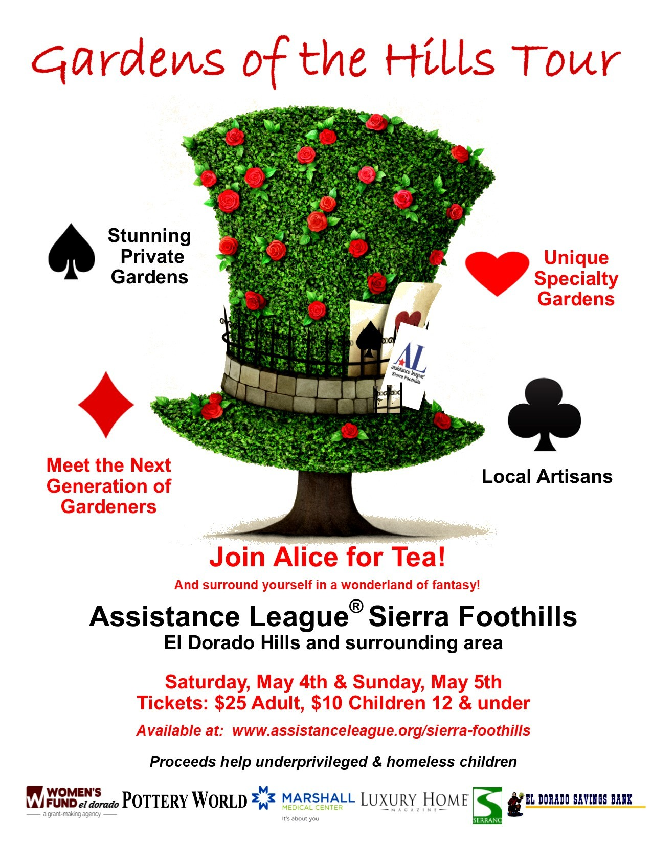 10th Annual Garden Tour of the Sierra Foothills Assistance League! In El Dorado County!
