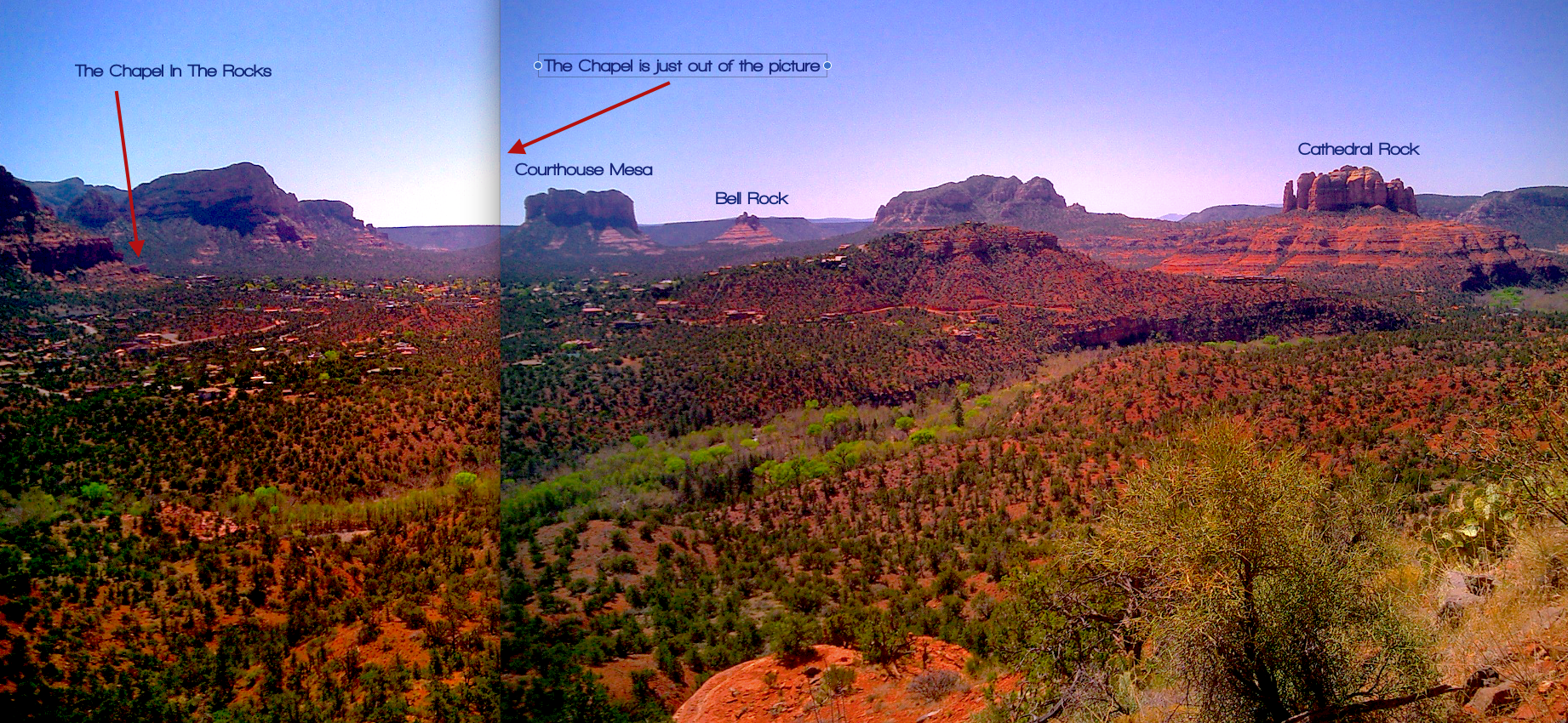 stitched panorama of famous red rock sedona formations